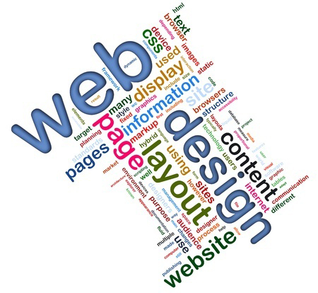 Web design words in a collage